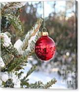 Lone Red Christmas Ball Canvas Print