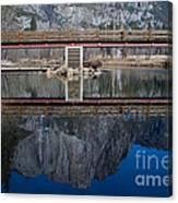 Lone Tourist And  Yosemite Falls Reflection Canvas Print