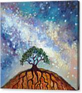 Lone Tree And Milky Way Canvas Print