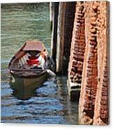 Lonely Boat In Venice Canvas Print