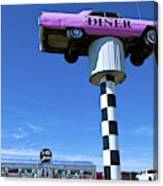 Lonely Diner With Pink Cadillac Canvas Print