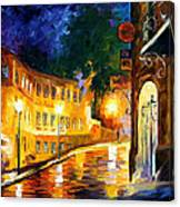 Lonely Night - Palette Knife Oil Painting On Canvas By Leonid Afremov Canvas Print