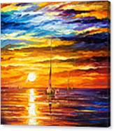 Lonely Sea 3 - Palette Knife Oil Painting On Canvas By Leonid Afremov Canvas Print