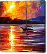 Lonely Yacht - Palette Knife Oil Painting On Canvas By Leonid Afremov Canvas Print