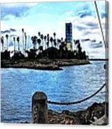 Long Beach Bay / Paintbrush Effect Canvas Print