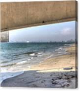 Long Beach From Beneath The Pier Canvas Print