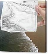 Long Beach Shoreline / Torn Sketch Effect Canvas Print