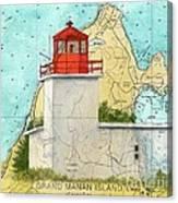 Long Eddy Pt Lighthouse Nb Canada Chart Art Peek Canvas Print