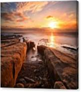 Long Exposure Sunset At A Rocky Reef In Canvas Print