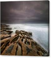Long Exposure Sunset On A Dark Stormy Canvas Print