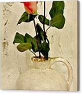 Long Stemmed Red Roses In Pottery Canvas Print