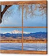 Longs Peak Across The Lake Barn Wood Picture Window Frame View Canvas Print