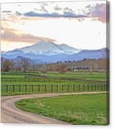 Longs Peak Springtime Sunset View  Canvas Print