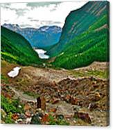 Looking Back To Lake Louise From Trail To Plain Of Six Glaciers In Banff Np-ab  Canvas Print