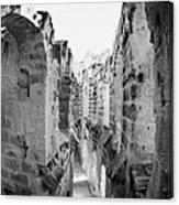 Looking Down On Internal Walkways From Upper Tier Of Old Roman Colloseum El Jem Tunisia Canvas Print