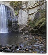 Looking Glass Falls With Trout Fishing - North Carolina Waterfalls Series Canvas Print