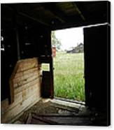 Looking Out Old Barn Canvas Print