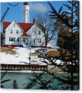 Looking Through The Pines - Sturgeon Bay Coast Guard Station Canvas Print