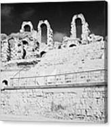 Looking Up At Rear Remains And Layered Seating Area In The Main Arena Of The Old Roman Colloseum At El Jem Tunisia Canvas Print