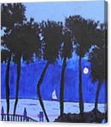 Looming Shore At Night Canvas Print