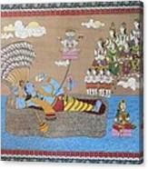 Lord Vishnu In Ananta Sayan Posture Canvas Print