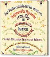 Lord's Prayer Calligraphy 1889 Canvas Print