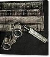 Lorgnette With Books Canvas Print