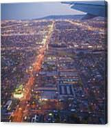 Los Angeles Aerial Overview On Approach To Lax At Night  Canvas Print