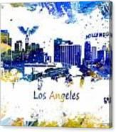 Los Angeles California Skyline Yellow Blue Canvas Print