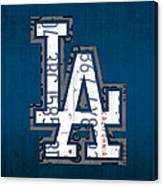 Los Angeles Dodgers Baseball Vintage Logo License Plate Art Canvas Print