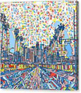 Los Angeles Skyline Abstract 3 Canvas Print