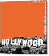 Los Angeles Skyline Hollywood - Coral Canvas Print