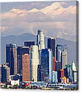 Los Angeles Skyline With Mountains In Background Canvas Print