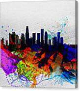 Los Angeles  Watercolor Skyline 2 Canvas Print