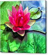 Lotus Blossom And Cloud Reflection Canvas Print