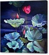 Lotus On Dark Water Canvas Print
