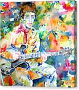 Lou Reed Playing The Guitar - Watercolor Portrait Canvas Print