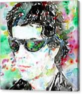 Lou Reed Watercolor Portrait.2 Canvas Print