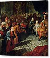 Louis Xiv 1638-1715 Receiving The Persian Ambassador Mohammed Reza Beg In The Galerie Des Glaces Canvas Print