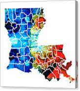 Louisiana Map - State Maps By Sharon Cummings Canvas Print