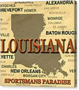 Louisiana State Pride Map Silhouette  Canvas Print