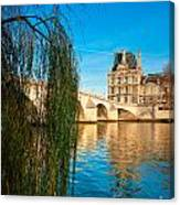 Louvre Museum And Pont Royal - Paris - France Canvas Print