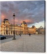 Louvre Museum At Sunset Canvas Print