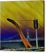 Love At Cupid's Span San Francisco Bay Bridge Canvas Print