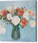 Love Bouquet In White And Orange Canvas Print