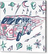 Love Bus Vector Poster. Hippie Car Canvas Print