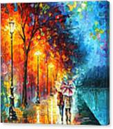 Love By The Lake - Palette Knife Oil Painting On Canvas By Leonid Afremov Canvas Print
