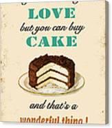 Love Cake Typography Canvas Print