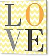 Love Chevron Yellow Canvas Print