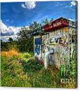 Love Graffiti Covered Building In Field Canvas Print